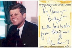 "John F. Kennedy  Vintage Autographed Note Acquired in 1959 A Close Encounter with the Future President ""from your friend John Kennedy"""