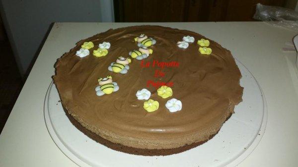 Mousseux au chocolat sur moelleux au chocolat