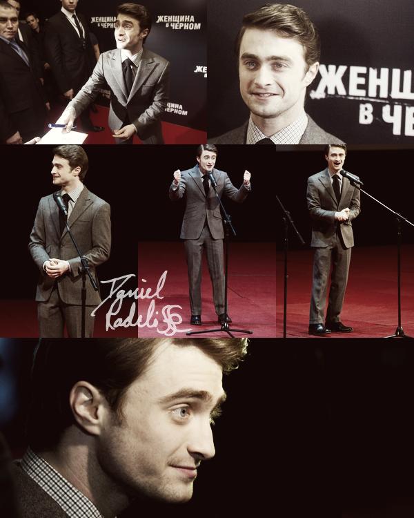 *  RUSSIE____ ; Hier Daniel a assisté à l'avant première de The Woman In Black à Moscou  + Conférence de presse ~ Photocall en pleine air avec la neige !  *