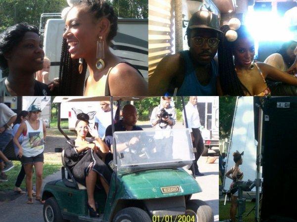 """Beyonce vu en plein tournage de son prochain clip """"Partie"""" avec sa soeur Solange,Kanye West,Andre 3000 et Kelly Rowland"""