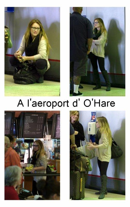 16 octobre - Hilary Duff A l'aeroport d' O'Hare accompagnée de son assistante et son garde du corps.