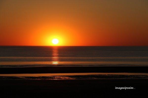 Soleil couchant en baie de Somme ...