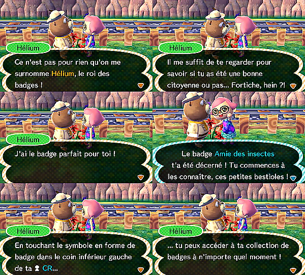 Les badges d'Hélium dans Animal Crossing : New Leaf