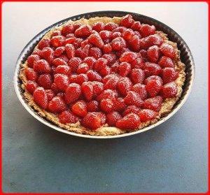 Tarte aux fraises entièrement bio.