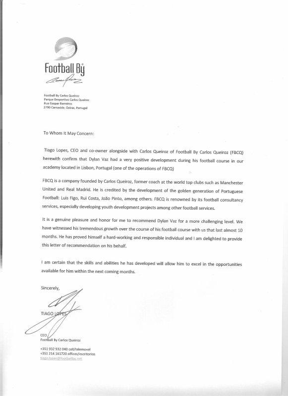 Lettre de recommandation du directeur de FCBQ Manchester United
