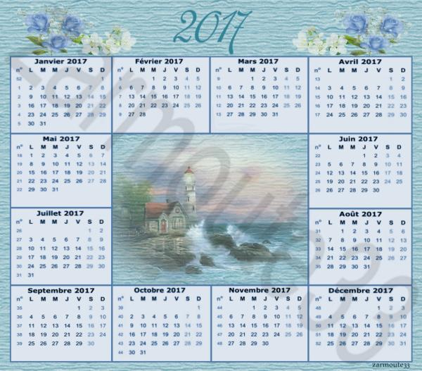 Calendrier 2017 Bord de mer et Phare cree par moi meme (vous pouvez prendre)