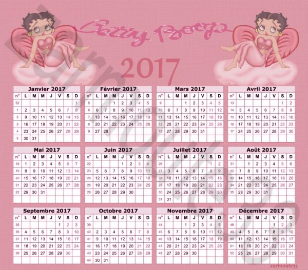 Calendrier 2017 Betty Boop rose cree par moi meme (vous pouvez prendre)