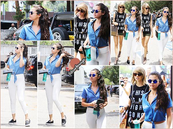 - 16/06/15 - Miss Gomez était en compagnie de sa meilleure amie Taylor Swift, dans les rues de Los Angeles ●● Cela faisait un bon bout de temps qu'on n'avait pas vus les deux starlettes ensemble, qu'en pensez-vous ? Côté tenue c'est TOP pour Selena -