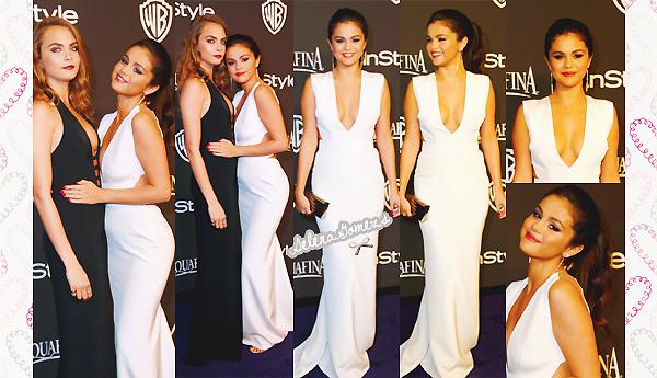 '  11.01.2015 - Selena était présente au 72nd Annual Golden Globe Awards Party, en Californie  Côté tenue, Selena toute élégante dans sa magnifique robe blanche, nous a fait un charmant TOP '