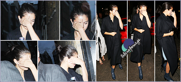 """- 27/07/15 - Selena Gomez et son amie Ashley Cook ce sont rendues au restaurant """"Chiltern Firehouse"""" à Londres ●● Côté tenue nous avons aucuns aperçus sur ce qu'elle porte en dessous de sa longue veste noir, je donne donc un grand BOF. Qu'en pensez-vous ? -"""
