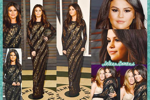 '  22.02.2015 - Selena était présente à la cérémonie de Vanity Fair pour la remise des oscars Côté tenue Selena est tout simplement sublime, la robe étant de Louis Vitton, elle lui va à ravir '