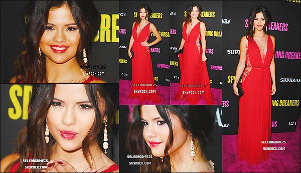 14/03/2013 : Selena était présente à l'avant première du film Spring Breakers, à Los Angeles