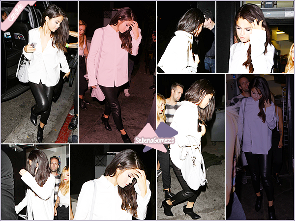 """- 13/08/15 - Selena Gomez a été vue au restaurant """"The Nice Guy"""" qui se situe à West Hollywood, à Los Angeles ●● Notre belle Selena est de nouveau de sortit, sans le sourire aux lèvres. Mais côté tenue je donne un TOP à notre starlette. Qu'en pensez-vous ? -"""