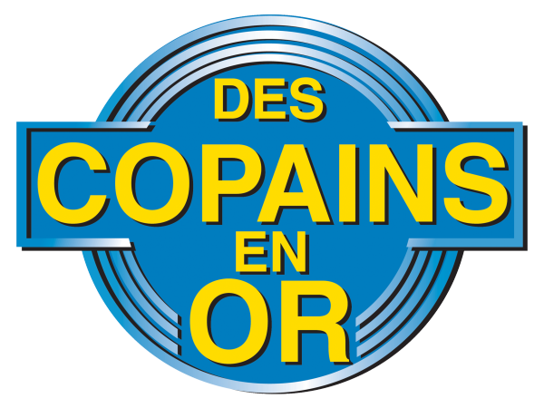 Reproduction du logo Des Copains en or.