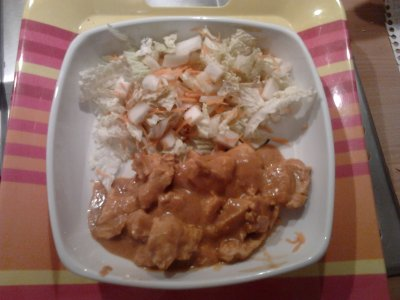 Poulet Tandoori (accompagné d'une salade de chou chinois)