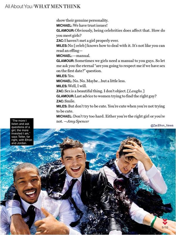 Zac et ses co-stars de That Awkward Moment dans Glamour Magazine - février 2014.