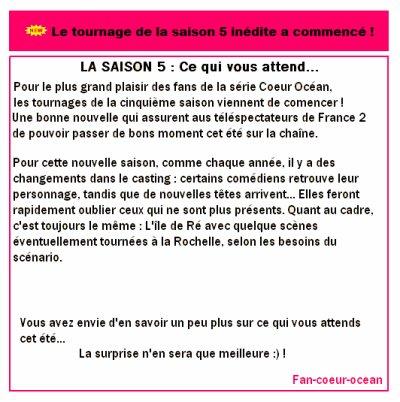 Alors que toute l'équipe de Coeur Océan est actuellement en tournage sur l'île de Ré, nous apprenons la venue au casting d'un nouvel acteur : Laurent Nassiet.