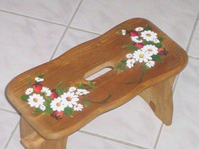 petit banc pour poser une plante peinture sur bois. Black Bedroom Furniture Sets. Home Design Ideas