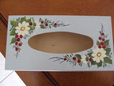 Boite mouchoirs peinture sur bois - Comment decorer une boite a mouchoir en bois ...