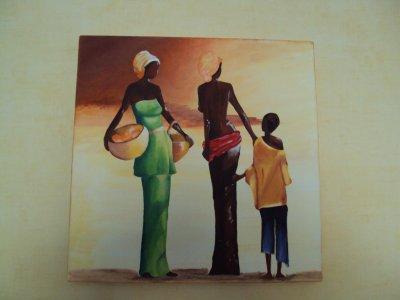 Tableau sur toile fait en cours ( mon voyage en Afrique est déjà terminé.)