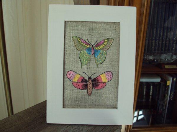Papillons ( sur lin)