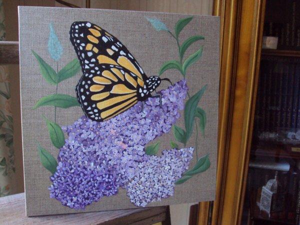 Papillon et lilas sur Lin 30X30