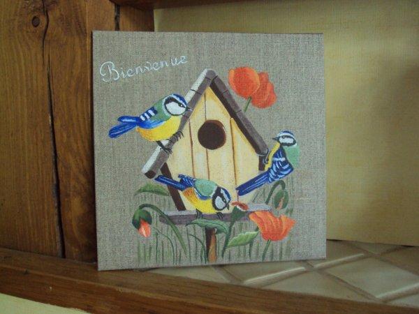Maison d 39 oiseaux et m sanges lin 20x20 peinture sur bois for Peinture acrylique maison