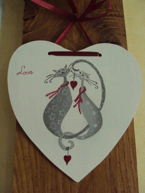 Les chats amoureux sur un coeur peinture acrylique - Peinture acrylique sur bois ...