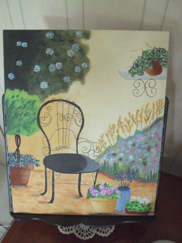 La chaise de Jardin sur toile  Acylique
