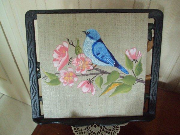 oiseau bleu peint à l'acrylique sur toile Lin 20x20.