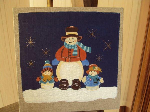 Tableau sur lin 20x20 motif Noel.