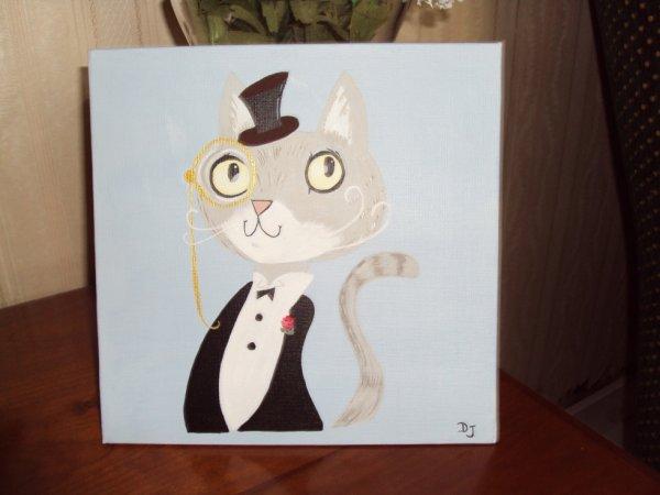 Monsieur Chat en habit ( Toile coton 20x20 Acrylique)