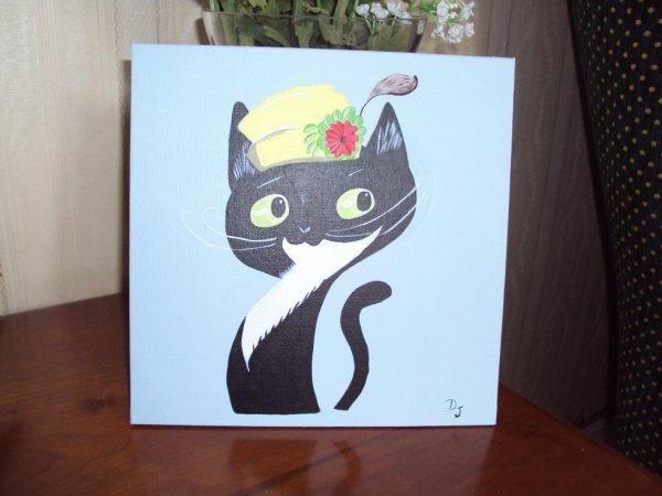 Madame Chat chapeautée ( toile coton 20x20 acrylique)