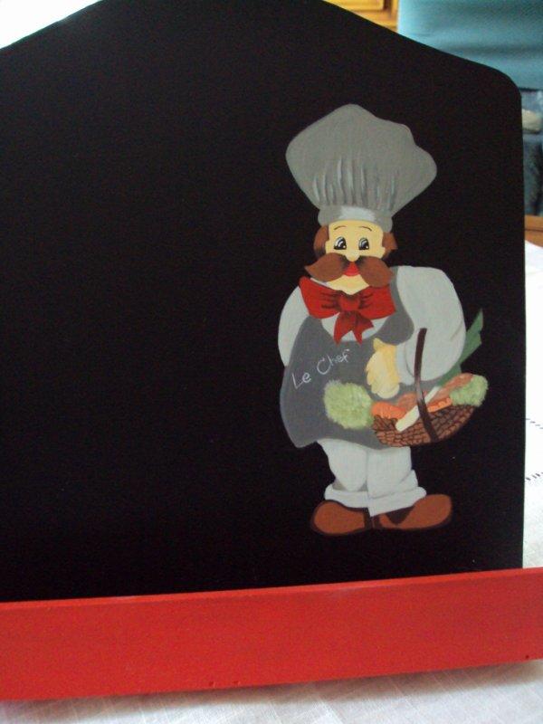 Lutrin pour recettes de cuisine ou livre motif cuisinier. Façade noir pour poser des aimants.