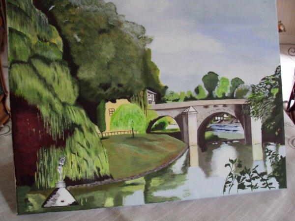"""Tableau réalisé en cours sur toile de lin """" Le pont du Cabouillé"""" à L'Isle Adam 95 VAL D'OISE."""