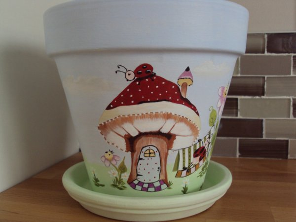 """Pot de fleurs en terre cuite motif """" Coccinelles"""""""