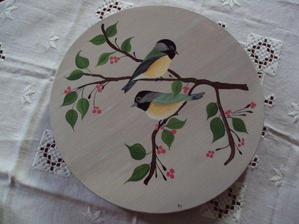 plateau tournant motif oiseaux peinture acrylique.