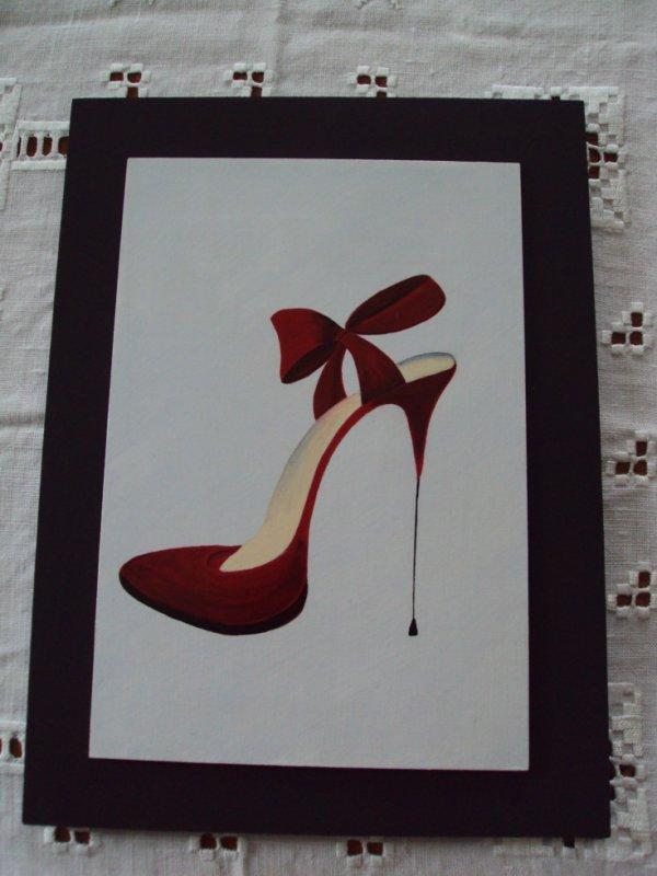 Chaussure rouge peinture acrylique.