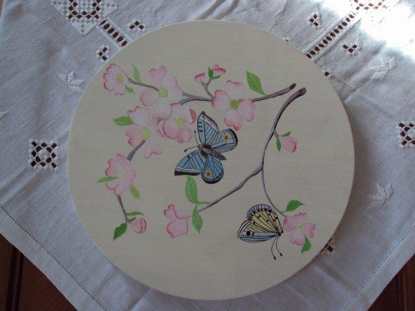 Plateau tournant papillon bleu.