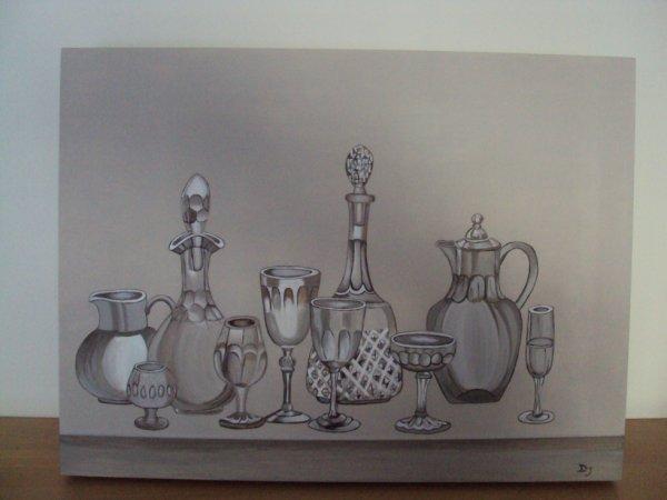 Tableau représentant carafes et verres (fait en cours) peinture acrylique.