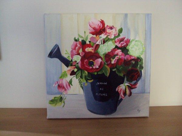 Toile bouquet anémones (fait en cours).