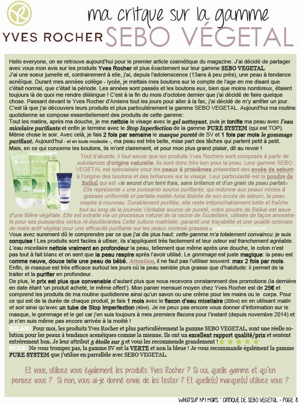 * ____________● ● ● __N°1 Mars 2015 - Article 3:  Cosmétique: La gamme Sébo Végétal d'Yves Rocher» Posté par Audrey, le 7 mars 2015