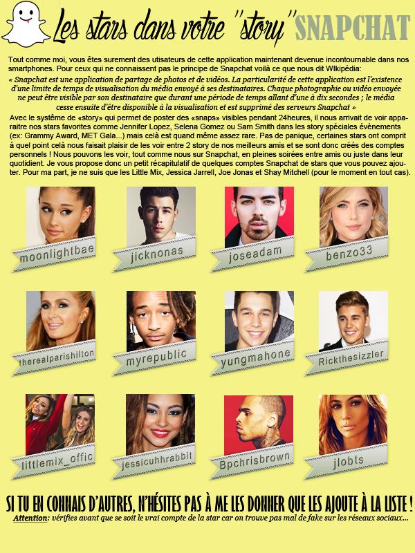 * ◆ N°4 Juin 2015 - Article 6: Les snapchats de stars  | Posté par Audrey, le 16 juin 2015