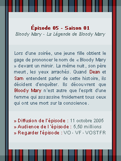 ● ● ● Episode 1x05 : Bloodu Mary  » I always try to protect you...keep you safe  ____________________________________________________Création || Décoration