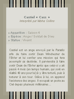 ● ● ● Personnage : Castiel  sur Addict-Sup3natural.skyrock.com  » Sam i was try to protect you keep you safe. __________________________________________________Création || Décoration