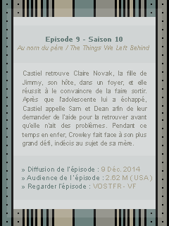 ● ● ● Episode 10x09 : The Things We Left Behind » I always try to protect you...keep you safe  ____________________________________________________Création || Décoration