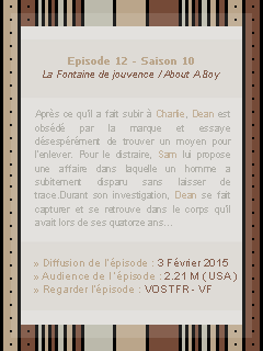 ● ● ● Episode 10x12 : About A Boy  » I always try to protect you...keep you safe  ____________________________________________________Création || Décoration