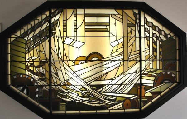"""AUBUSSON   MUSEE  DE  LA  TAPISSERIE      """"  VITRAIL  DU  METIER A TAPISSERIE  """"  photo  SM07"""