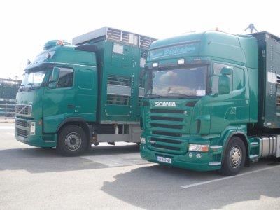 Un camion remorque Volvo FH16 550 et une semi tractée par un Scania R480.