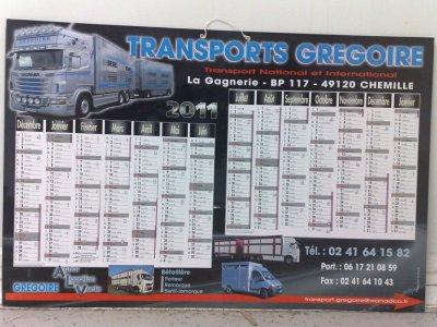 Le calendrier 2011 des transports Gregoire (49).
